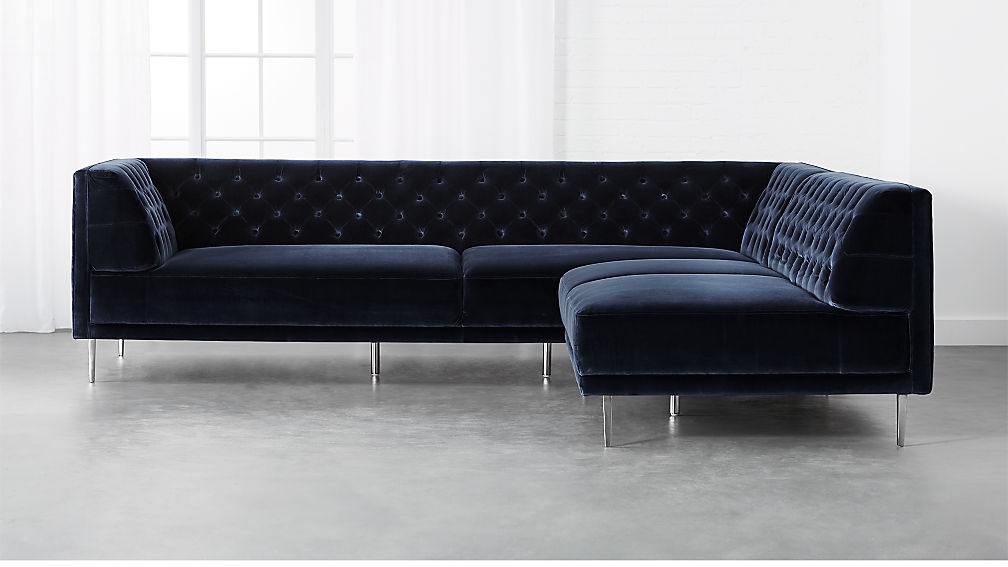 Savile Midnight Blue Velvet 2-Piece Sectional Sofa + Reviews   CB2