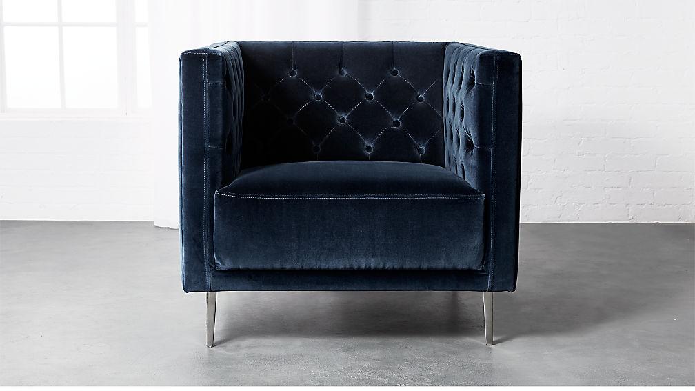 Savile Midnight Blue Velvet Chair Reviews Cb2