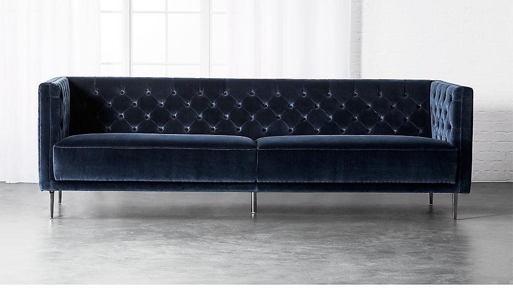 Savile Midnight Blue Velvet Sofa + Reviews   CB2