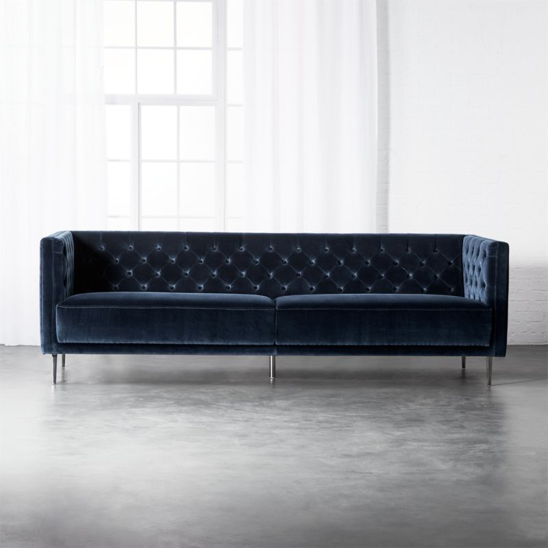 Bon Savile Midnight Blue Velvet Sofa