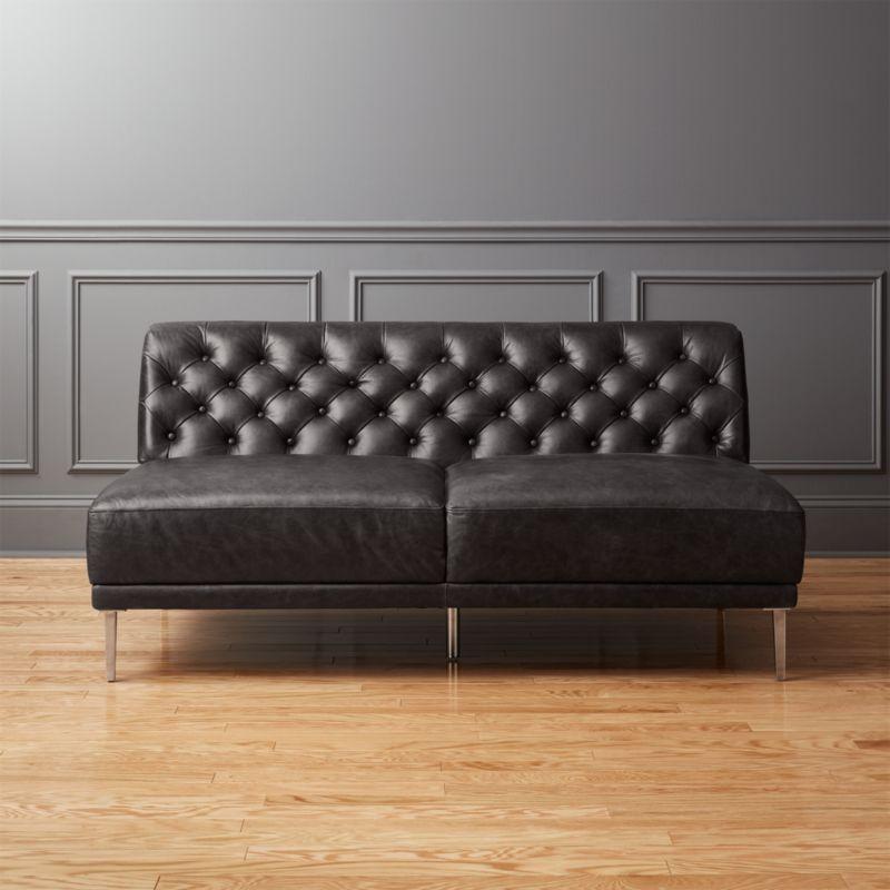 Savile Black Leather Tufted Armless Sofa
