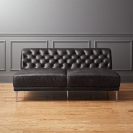 Savile Black Leather Tufted Armless Sofa   CB2