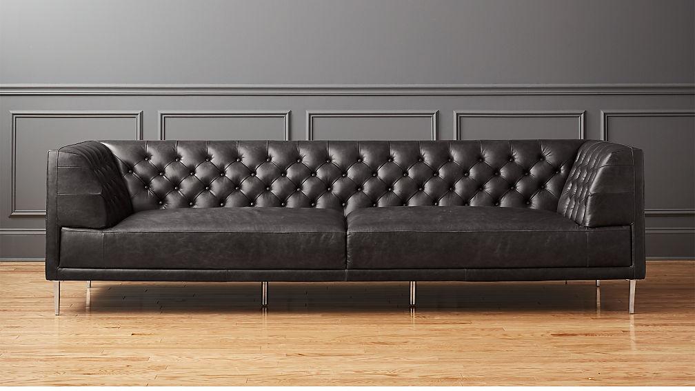 Savile Black Leather Tufted Extra Large Sofa Reviews Cb2