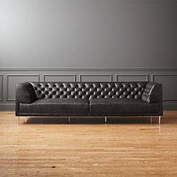 Savile Black Leather Tufted Sofa + Reviews   CB2