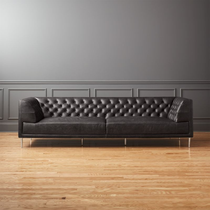 Savile Black Leather Tufted Extra Large Sofa