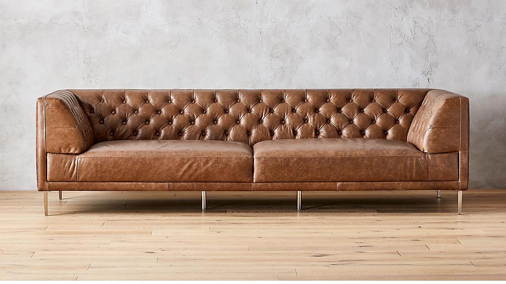 Savile Dark Saddle Leather Tufted Extra Large Sofa