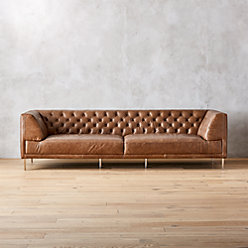 Savile Dark Saddle Brown Leather Tufted Sofa Reviews Cb2