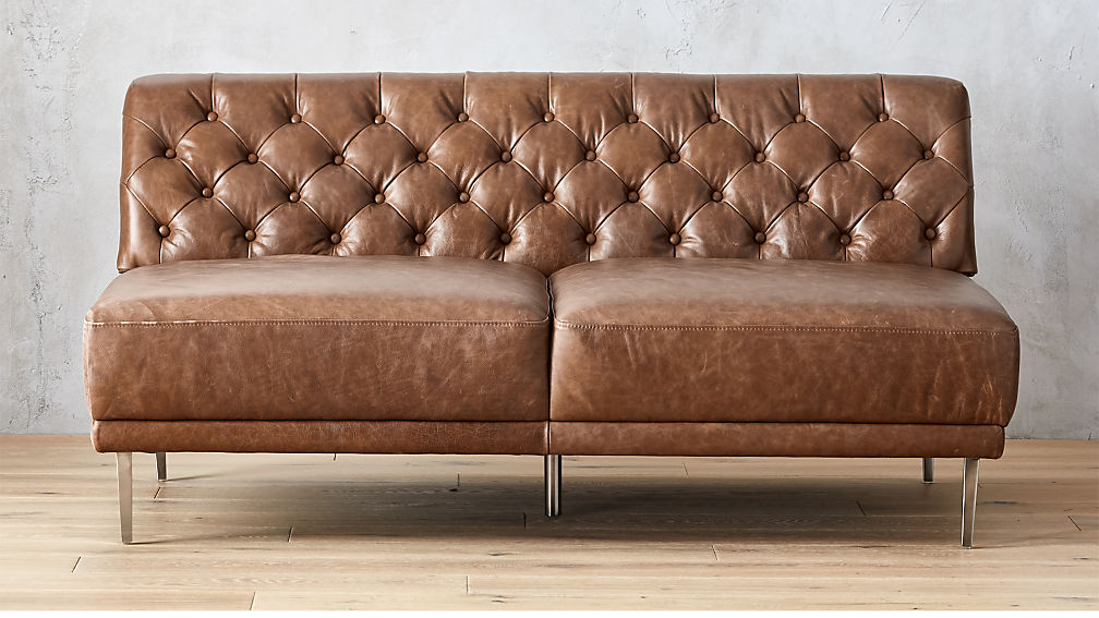Savile Dark Saddle Leather Tufted Armless Sofa + Reviews | CB2