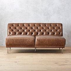 Savile Leather Tufted Armless Sofa | CB2