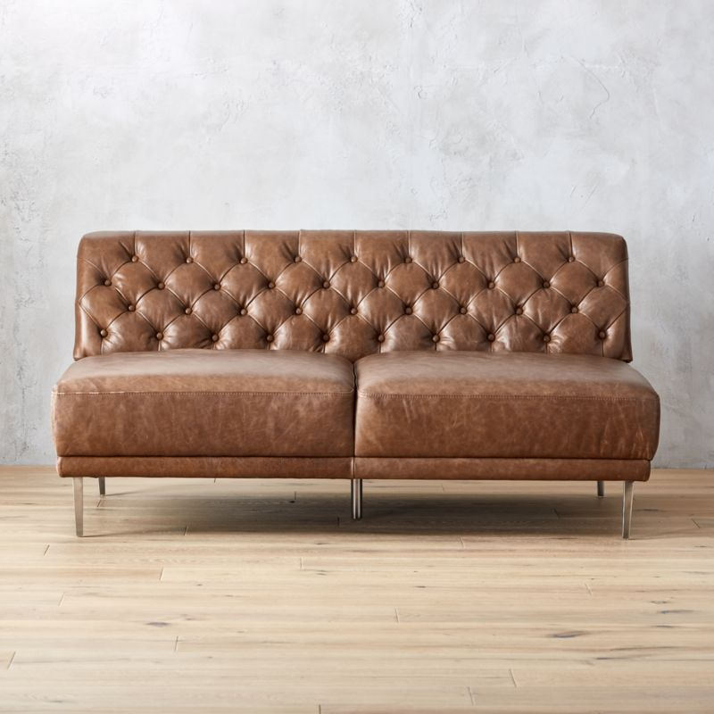 Savile Dark Saddle Leather Tufted Armless Sofa