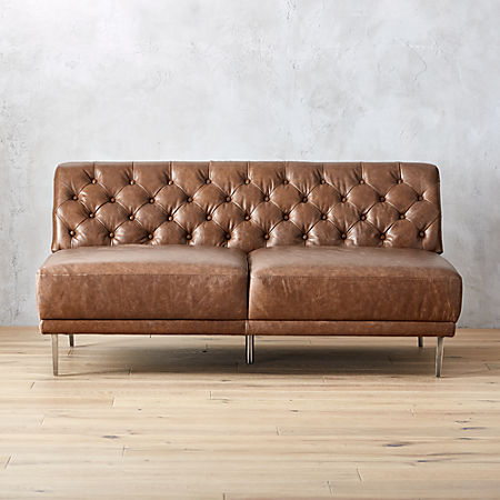 Stupendous Savile Saddle Leather Tufted Armless Sofa Reviews Cb2 Download Free Architecture Designs Scobabritishbridgeorg