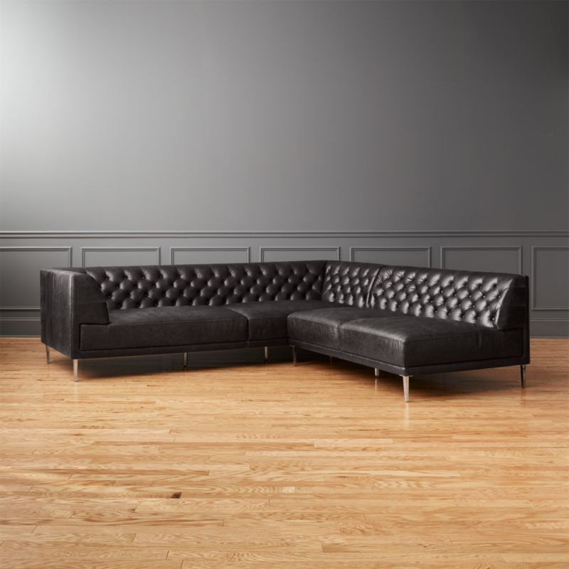 Savile Black Leather Tufted Sectional Sofa