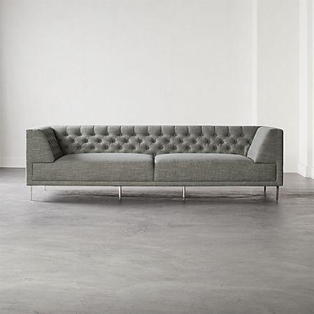 Savile Slate Tufted Extra Large Sofa | CB2