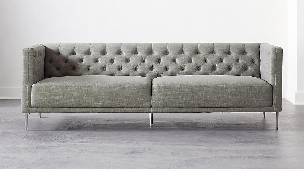 Savile Slate Tufted Sofa - Image 1 of 6