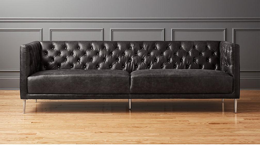Savile black leather tufted sofa reviews cb2