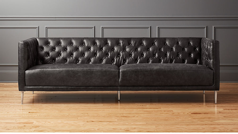 Savile Black Leather Tufted Sofa + Reviews | CB2