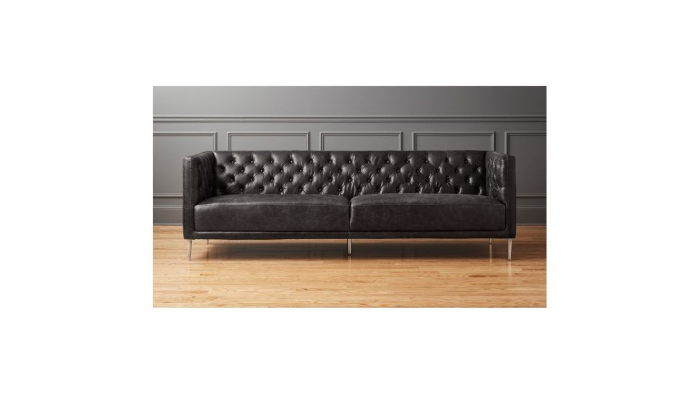 Savile Black Leather Tufted Sofa + Reviews