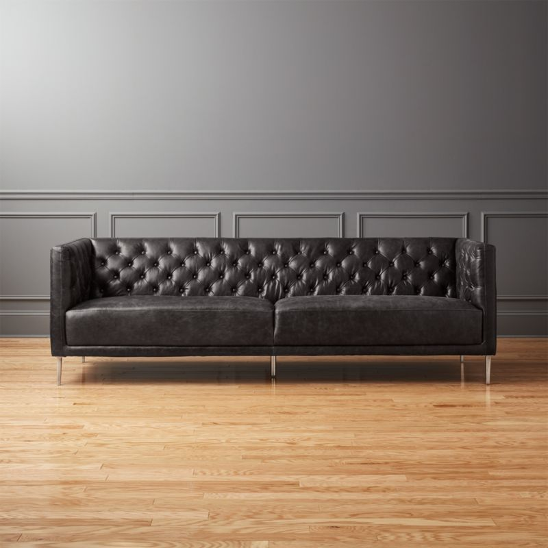 Savile Black Leather Tufted Sofa