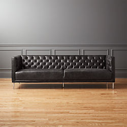 Modern furniture living room Wood Savile Black Leather Tufted Sofa Csartcoloradoorg Modern Living Room Furniture Cb2