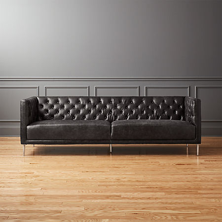 Savile Black Leather Tufted Sofa