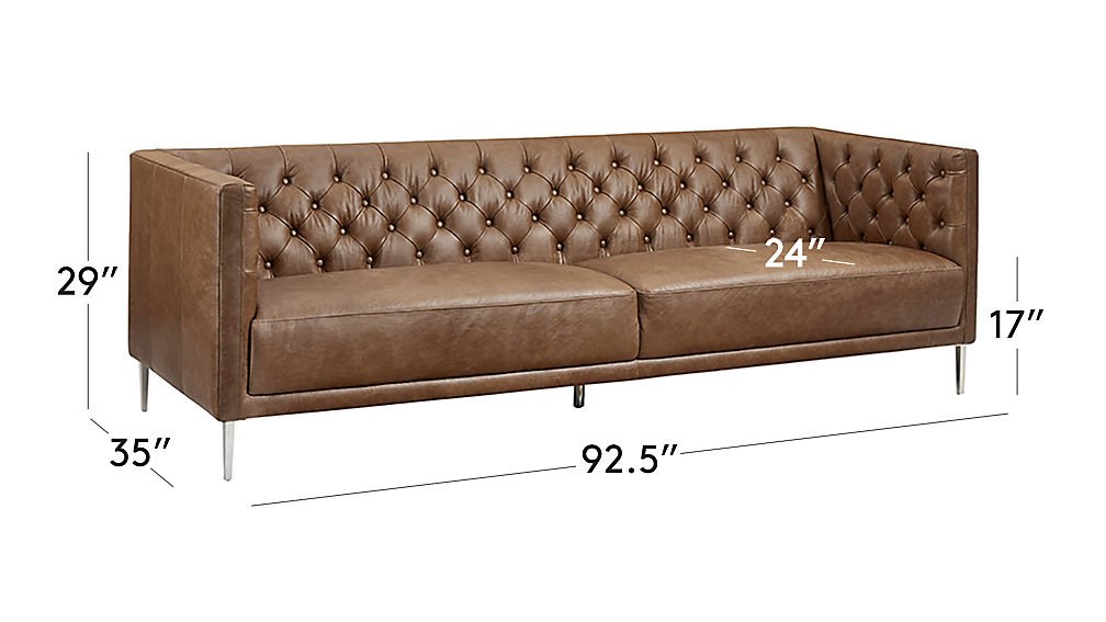 Image with dimension for Savile Dark Saddle Brown Leather Tufted Sofa