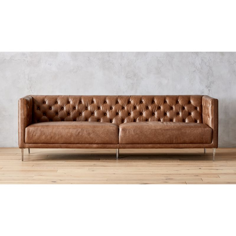 Savile Dark Saddle Brown Leather Tufted Sofa Reviews CB2