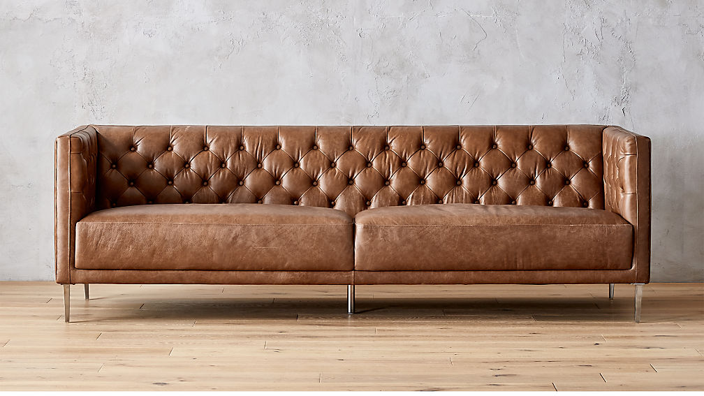 Savile Dark Saddle Brown Leather Tufted Sofa + Reviews | CB2