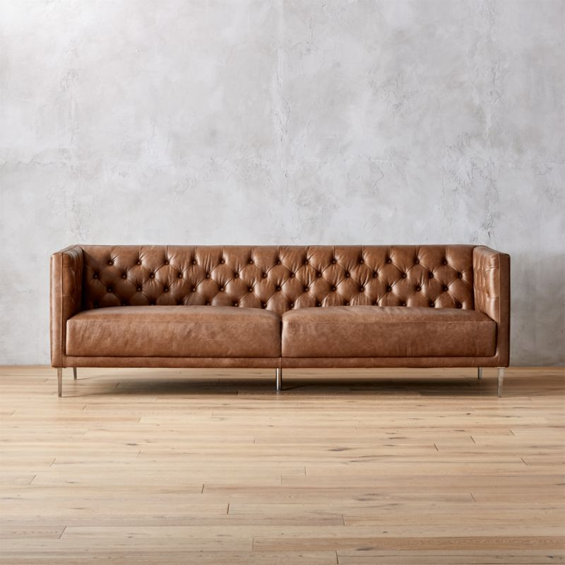 Charmant Savile Dark Saddle Brown Leather Tufted Sofa