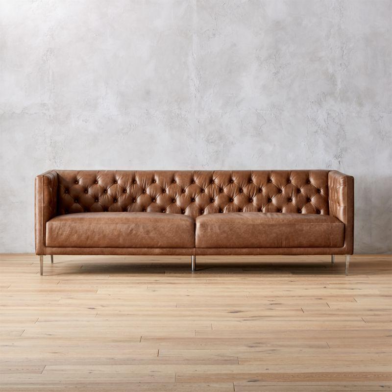 Superb Cb2 Sofa Leather Savile Dark Saddle Leather Tufted Apartment Pdpeps Interior Chair Design Pdpepsorg