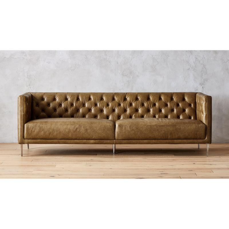 Savile Leather Tufted Sofa | CB2