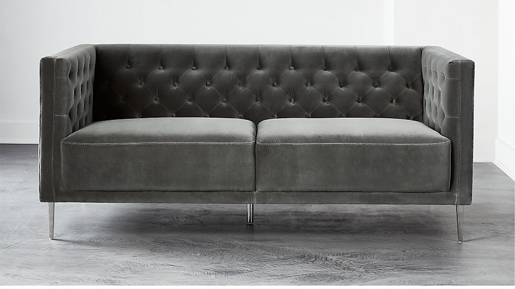 Savile Storm Velvet Apartment Sofa - Image 1 of 6