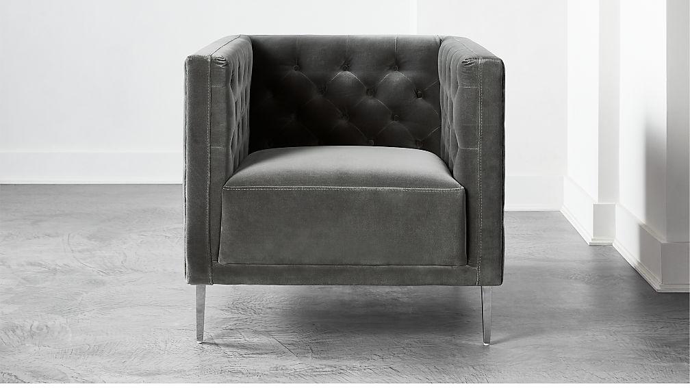 Savile Storm Velvet Chair - Image 1 of 6