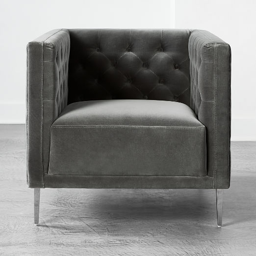 Savile Storm Velvet Chair