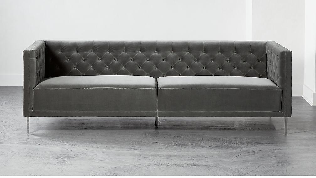Savile Storm Velvet Sofa - Image 1 of 6