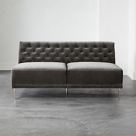 Admirable Savile Storm Velvet Armless Sofa Cb2 Evergreenethics Interior Chair Design Evergreenethicsorg