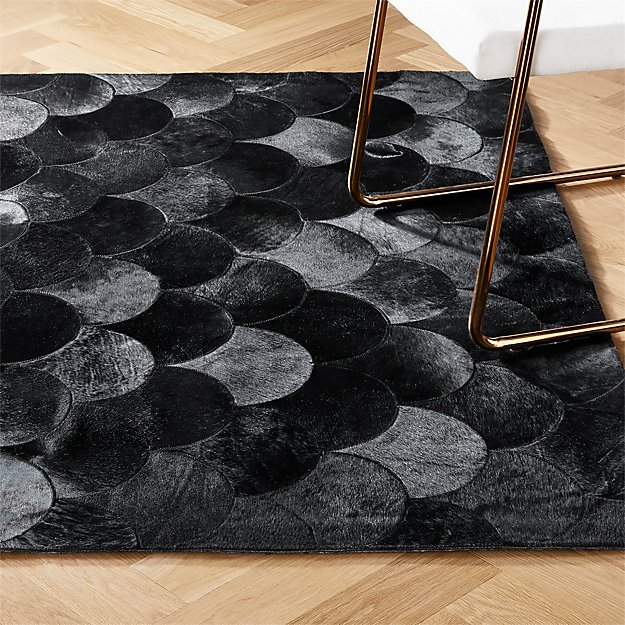 Scallop Black Hide Rug - Image 1 of 10