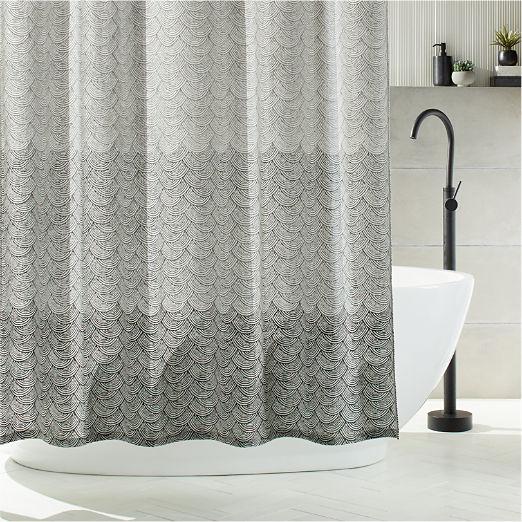 Scallop Blockprint Shower Curtain
