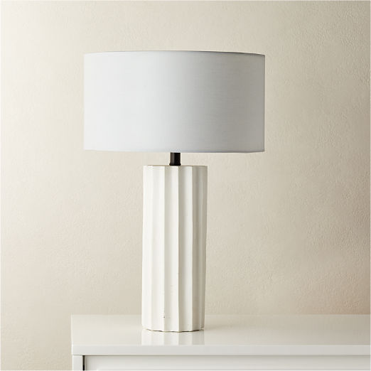Scallop White Concrete Table Lamp