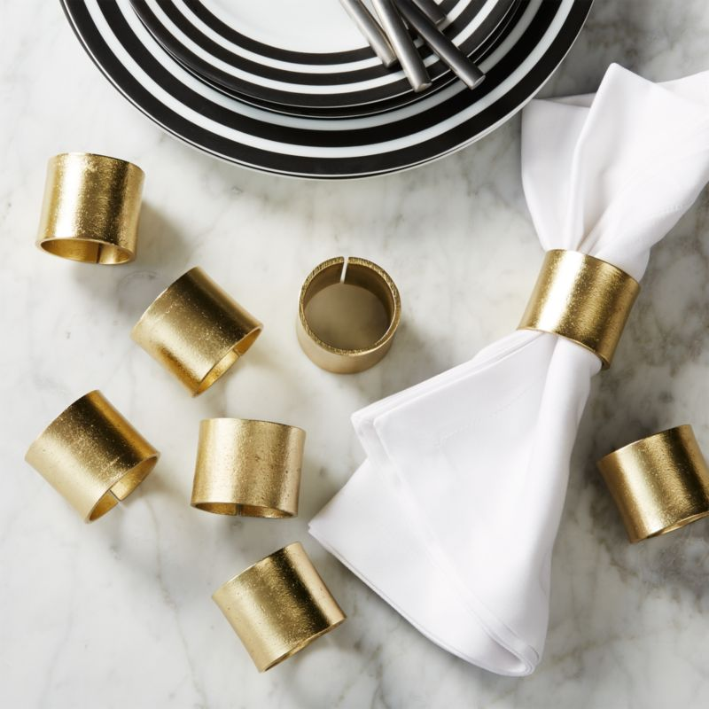 Set Of 8 Scott Gold Napkin Rings Reviews Cb2