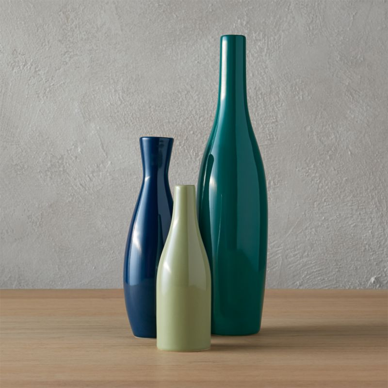 3 Piece Blue And Green Scout Vase Set Reviews Cb2
