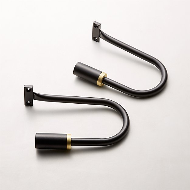 Seamless Black with Brass Band Holdbacks Set of 2 - Image 1 of 3