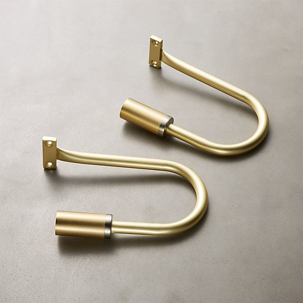 Seamless Brass with Nickel Band Holdbacks Set of 2 - Image 1 of 4