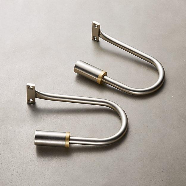 Seamless Nickel with Brass Band Holdbacks Set of 2 - Image 1 of 3