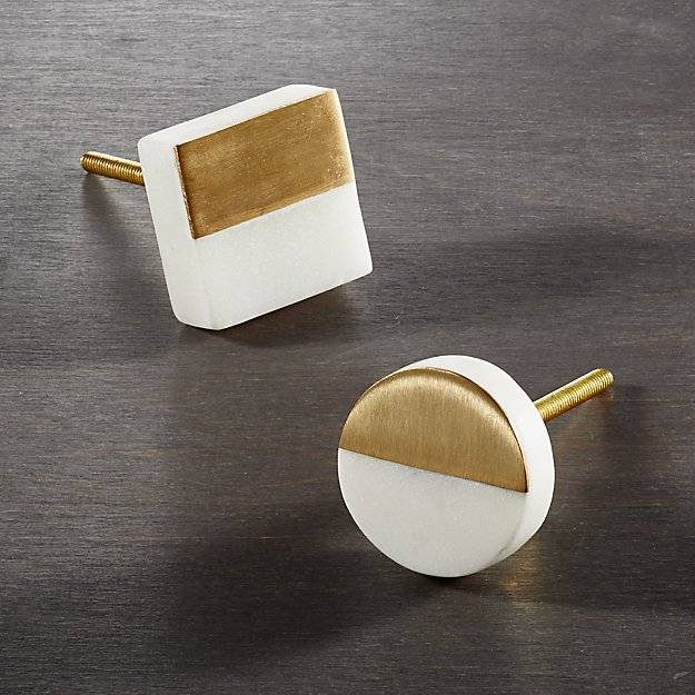 Selene Marble and Brass Knobs - Image 1 of 7