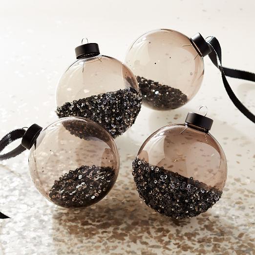 Sequin Ornaments Set of 4
