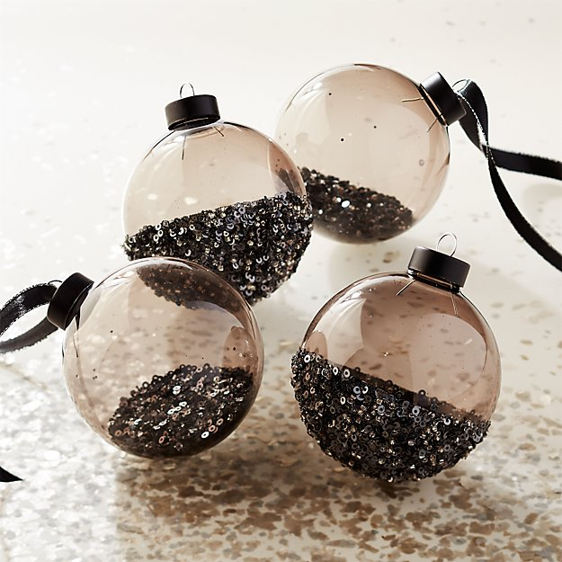 Sequin Ornaments Set of 4 - Image 1 of 4