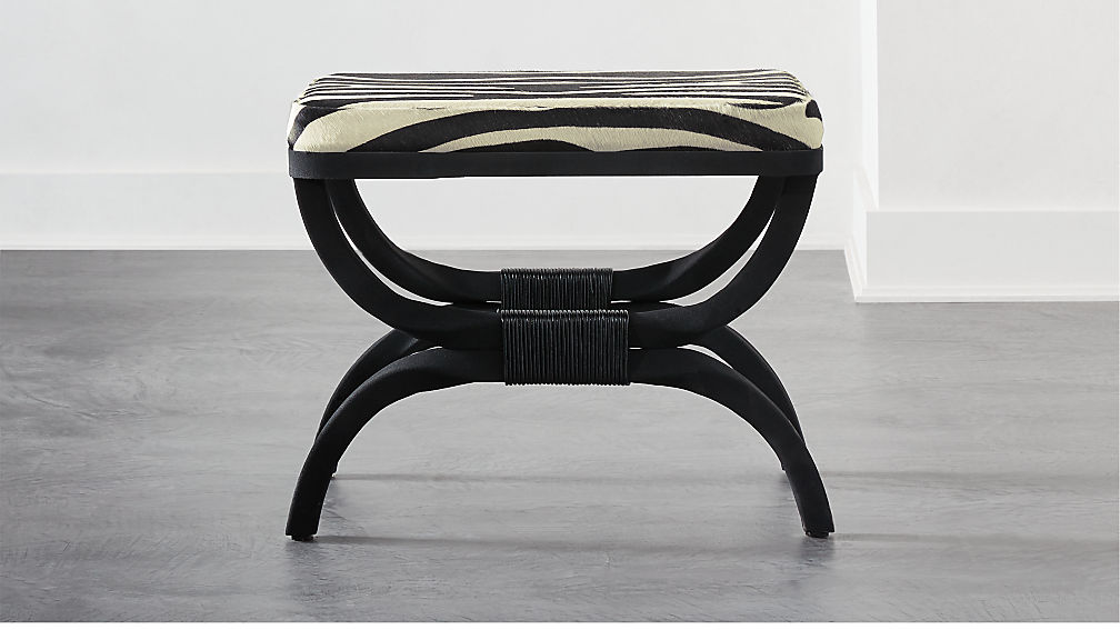 Serpette Zebra Print Cowhide Stool - Image 1 of 8