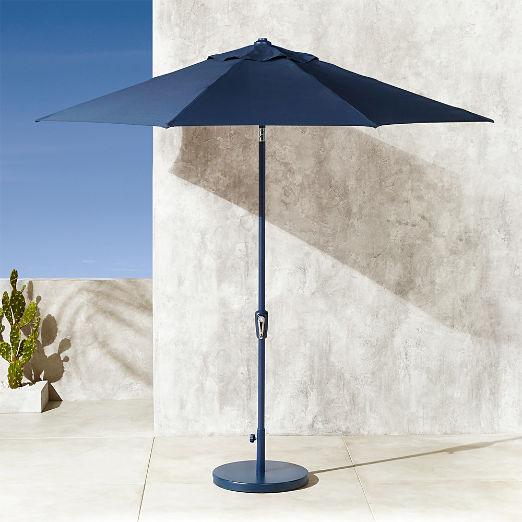 Shadow Round Navy Umbrella with Base