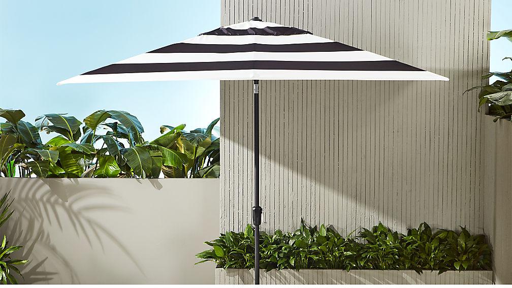 Shadow Rectangular Black And White Stripe Umbrella Shade With Pole