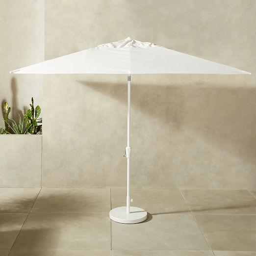 Shadow Rectangular White Umbrella with Base
